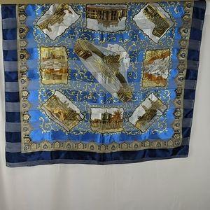 Italy landmarks Vatican silky souvenir blue scarf